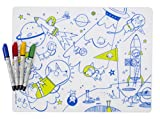 modern-twist Waterproof Silicone Kids washable Coloring Placemat, with 4 easy to wipe off dry-erase markers, Space Animals