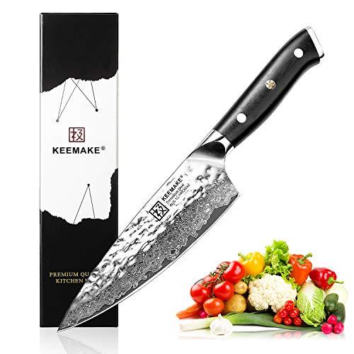 "Chef's Knife 6.5"", KEEMAKE Japanese Gyuto Damascus Kitchen Knife Hammered Finish G10 Handle Ultra Sharp, Stain & Corrosion Resistant"