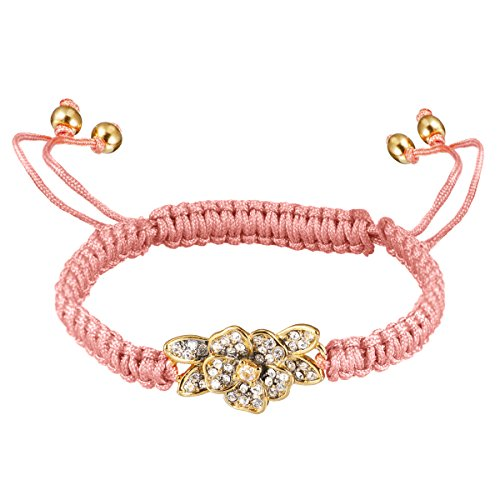 Juicy Couture Pave Bracelet - Juicy Couture Summer Friendship Pave Flower String Cord Bracelet-Coral