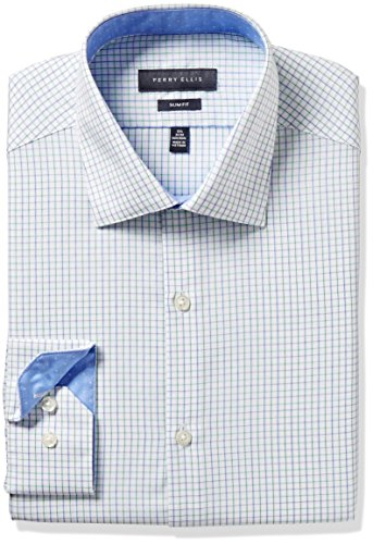 Perry ellis collection men 39 s slim fit check non iron dress for No iron slim fit dress shirts