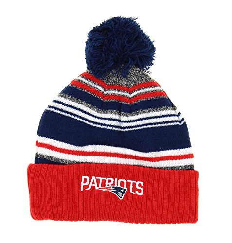 Outerstuff New England Patriots NFL Youth, Boys 8-20, Knitted Pom Hat, Team - England Training Fleece