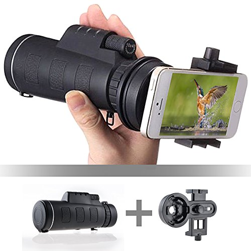 Monocular Telescope, IC ICLOVER High Definition 10 x 40 Dual Focal Point Telescope Optics Zoom Monocular Scope, Superb Night Vision Scope with Cell Phone Clip for Hunting Camping
