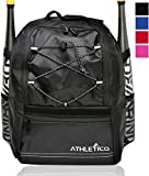 Athletico Youth Baseball Bag - Bat Backpack for Baseball, T-Ball & Softball Equipment & Gear | Holds Bat, Helmet, Glove | Fence Hook (Black)