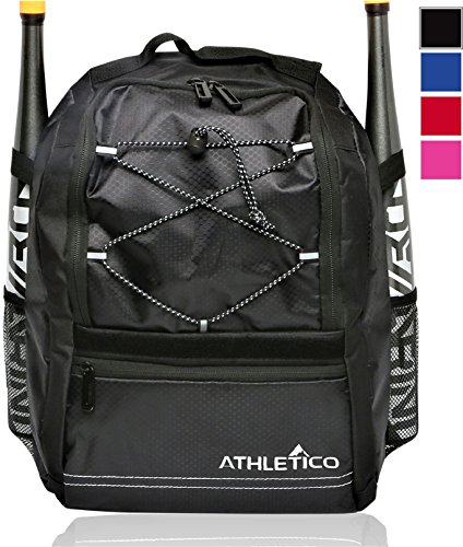 - Athletico Youth Baseball Bag - Bat Backpack for Baseball, T-Ball & Softball Equipment & Gear | Holds Bat, Helmet, Glove | Fence Hook (Black)