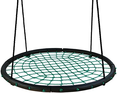 Movement God Giant 40 Diameter Spider Web Tree Swing, Spacious Net Swing for Multiple Children to Swing Together Green