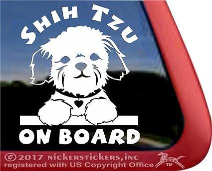Amazoncom Shih Tzu On Board Puppy Face Decal Vinyl Dog Window Car