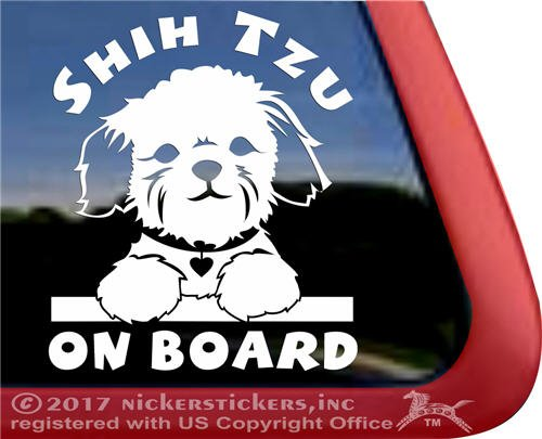Shih Tzu On Board Puppy Face Decal Vinyl Dog Window Car Truc