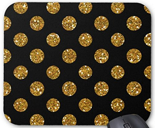 Mousepad Faux Gold Glitter Polka Dots Pattern on Black Mouse Pad Non-Slip Natural Rubber 9 X 7.5 Inch Mat (Betsy Dot)