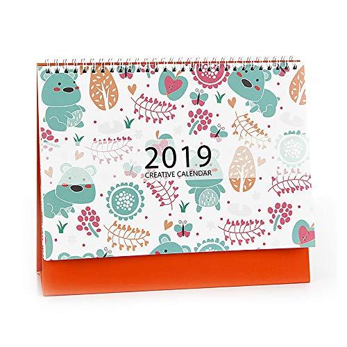 Weekly Calendar Perpetual (Tong Yue 2018-2019 Small Desk Calendar Table Top Desktop Standing Calendars with Easel,Bear)