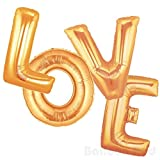 Arts & Crafts : 40 Inch Giant Jumbo Helium Foil Mylar Balloons Bouquet (Premium Quality), Glossy Gold, Letters LOVE