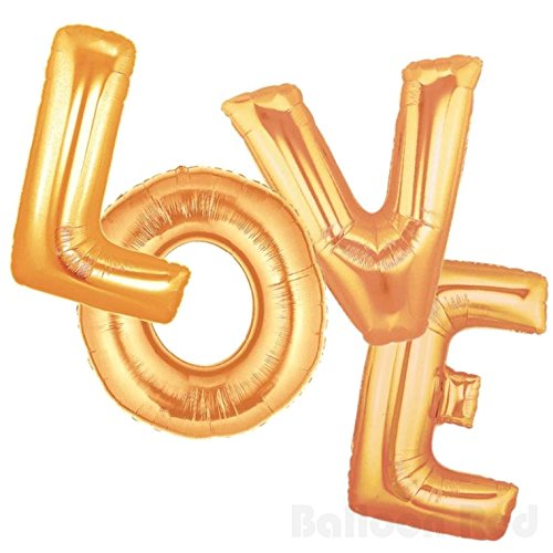 16 Inch Foil Mylar Balloons Bouquet for Wall Decoration (Premium Quality, Air-Fill Only), Matte Gold, Letters LOVE
