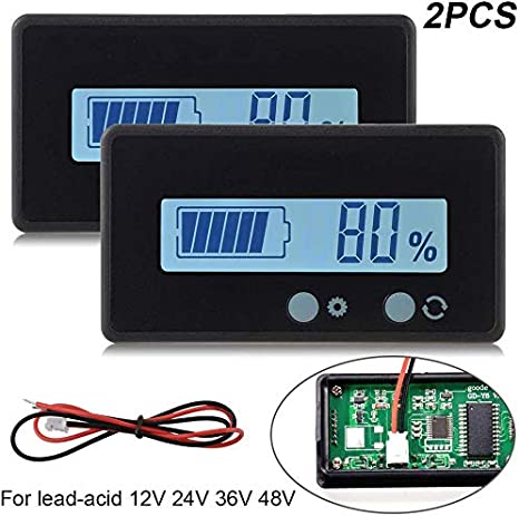 2pcs LCD Battery Capacity Monitor Gauge Meter,Waterproof 12V//24V//36V//48V Lead Acid Battery Status Indicator,Lithium Battery Capacity Tester Voltage Meter Monitor Green Backlit for Vehicle Battery