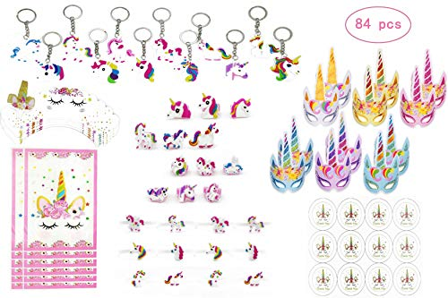 CHARMER HOME 84 Pack Unicorn Party Favors Supplies, Masks, Rings, Bracelets, Keychains, Cupcake holders, Stickers, Gift Bags, Kids Girls Novelty Rainbow Toy Gift Set, For 12 Guests]()