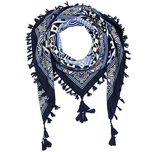 """Uainhrt Women Tassel Scarf Cotton 43""""×43"""" Large Square Shawl and Wraps,Versatile Gift Fringe Boho Shawl (Navy Blue)"""