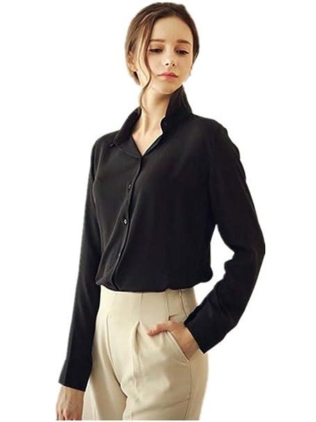 Blusas Moda Mujeres botón de solapa cuello camisa de gasa manga larga (EU Size:
