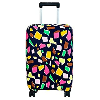 Luggage Cover, Anti-Scratch Dust Proof Suitcase Cover Elastic Seersucker Print Luggage Protector(M-Geometry)