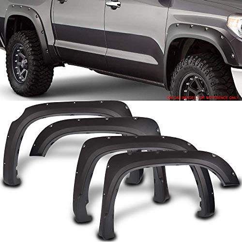 Fender Flares Fits 2014-2019 Toyota Tundra | Pocket Rivet Style Black PP Textured Front Rear Right Left Wheel Cover Protector Vent Trim by IKON MOTORSPORTS | 2015 2016