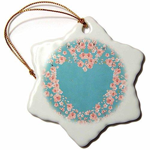 - Christmas Ornament Uta Naumann Pattern - Cherry Blossom Sakura Asian Flower Heart Illustration on Blue - Snowflake Porcelain Ornament
