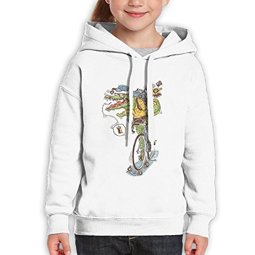 SmallHan Girls Cycling Crocodile Casual Style Climbing White Sweater L