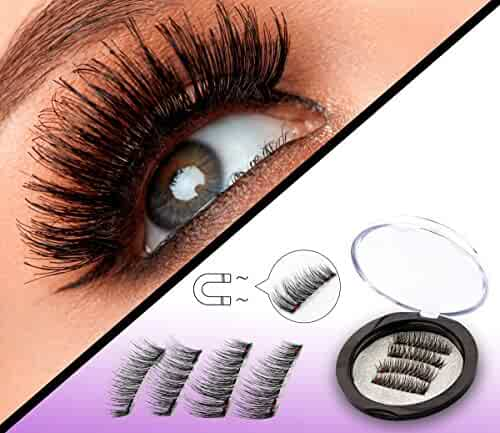 Full Size Dual Magnetic False Eyelashes Set (4 pieces) - Handmade 3D Fake Magnetic Lashes Extension - Best Reusable and Easy to Apply Ultra Thin Dual Magnet System - Soft & Comfortable - Natural Look