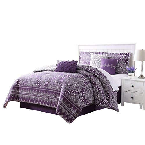 Carmela Home Harris 7-Piece Reversible Comforter Set, King, Plum/White