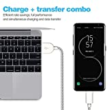 WUXIAN USB Type C Cable 5Pack (3/3/6/6/10FT) Nylon Braided USB A to USB C Charger Cable Fast Charging Cord for Samsung Galaxy Note 8 S8 Plus, LG G5 G6 V30 (Black&White45)