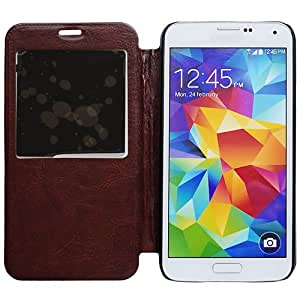 Casea Packing Brown Slim View Window Wallet Leather Cover Case For Samsung Galaxy S5