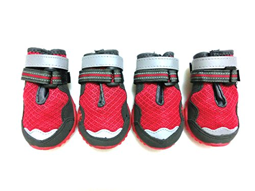 Xanday Breathable Dog Boots, Mesh Dog Shoes, Paw Protectors with Reflective and Adjustable Straps and Wear-resisting Soles,4pcs (2, Red)