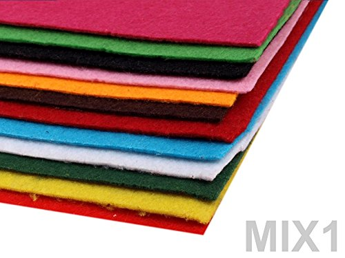 BUSDUGA 486090 Dekorativer Bastelfilz 20x30cm DIN A4 - 290g/qm - Stärke 1,5-2mm - 12 Bögen - verschiedene Farbmixe oder pur Farben wählbar (1MIX)