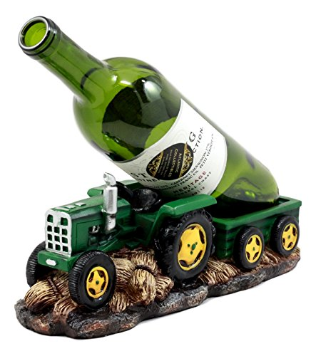Ebros Gift Vintage Old Fashioned Green Harvest Farm Tractor With Trailer Wine Holder 10.75