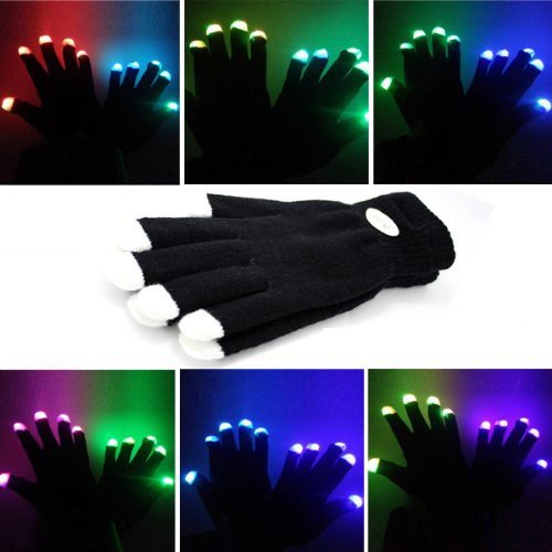 [1 Pair of LED Flashing Light Up Party Rave Gloves - Various Styles by Mammoth Sales (Black)] (Michael Jackson Black Or White Costume)