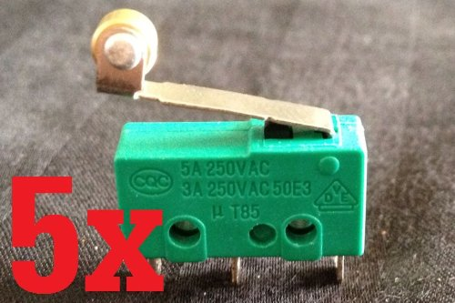 (5x Micro Switch Spdt Hinge Roller Lever 15a Kw4-3z 5a 3a 12v B1)