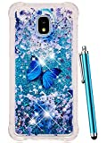 CAIYUNL for Galaxy J7 Refine Case,J7 2018,Samsung J7 Top,J7 Crown,J7 Aero,J7 Aura,J7 Eon,J7 Star Glitter Sparkle Liquid Bling Quicksand Clear TPU Cover Luxury Cute Women Men Shockproof -Blue Butterfly