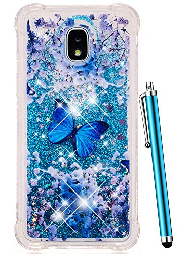 Glitter Samsung - CAIYUNL for Galaxy J7 Refine Case,J7 2018,Samsung J7 Top,J7 Crown,J7 Aero,J7 Aura,J7 Eon,J7 Star Glitter Sparkle Liquid Bling Quicksand Clear TPU Cover Luxury Cute Women Men Shockproof -Blue Butterfly