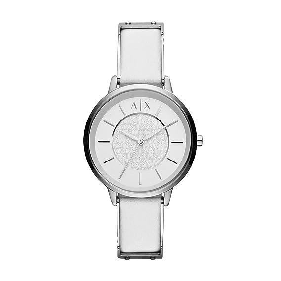 6b27bfc8eb5f Emporio Armani AX5300 White leather Watch for Men  Armani Exchange ...