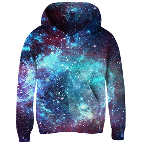 Uideazone 3D Nebula Star Cluster Pullover Hooded Sweatshirt Cool Hoodie for Junior Boys ()