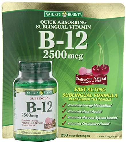 Nature's Bounty Sublingual Vitamin B12 - 2 Bottles, 250 Cherry Micro-Lozenges Each by Nature's Bounty