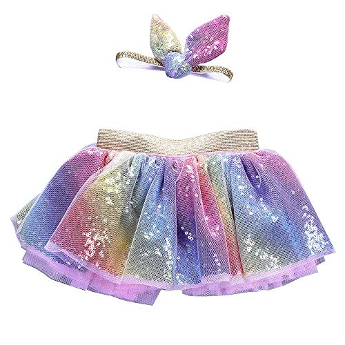 GBSELL 2PCS Toddler Girl Sparkle Tutu Skir + Ears Headband Party Dance Costume (Multicolor, 5-6 Years) -