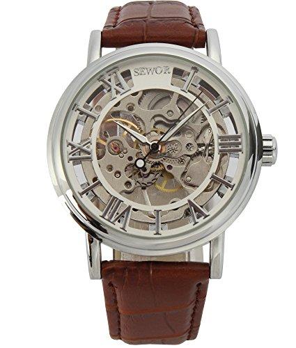 SEWOR Men's Mechanical Skeleton Transparent Vintage Style Leather Wrist Watch (Sliver)