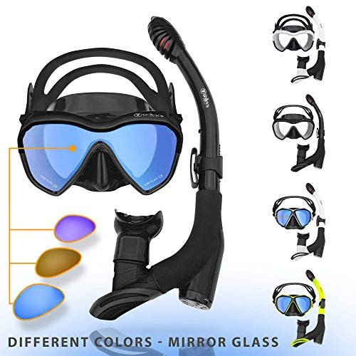 Shark's Tooth Dry Snorkel Set with Anti-Fogging Diving Mask and Dual Purge Valve for Adult Youth and Kids   Surface Swimming Dive Gear   180° Panoramic View Anti-Leak (Black1/Mirror)
