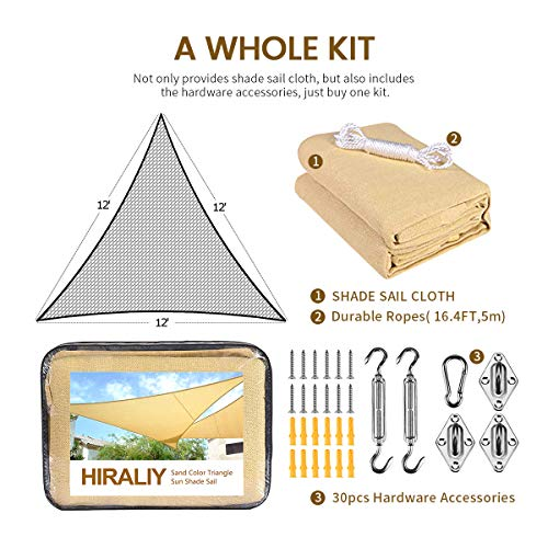HIRALIY 12 x 12 x 12 Triangle Sand Color UV Block Sun Shade Sails with Shade Hardware Kit for Outdoor Patio Garden