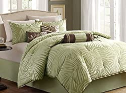 Tropical Palm Leaves Beach House Nautical Queen Comforter, Shams, Toss Pillows & Bed Skirt (7 Piece Bed In A Bag)