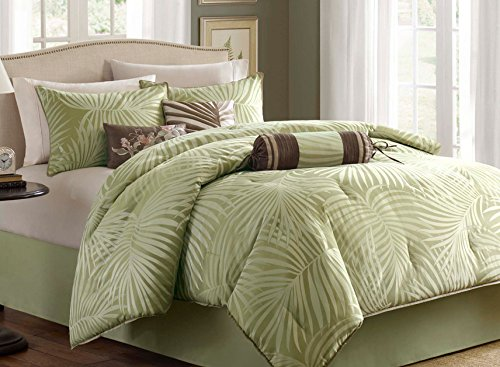 Tropical-Palm-Leaves-Beach-House-Nautical-Queen-Comforter-Shams-Toss-Pillows-Bed-Skirt-7-Piece-Bed-In-A-Bag