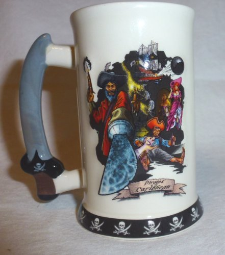 WDW Disney Exclusive Pirates of the Caribbean Mini Tankard Shot Glass Ceramic Shooter Mug Stein.