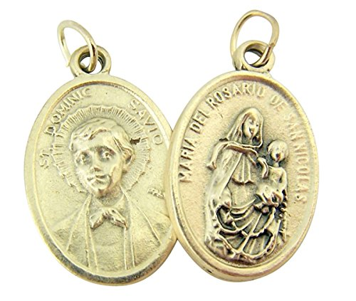 - Silver Toned Base Saint Dominic with Maria del Rosario Medal, 1 Inch, Set of 2
