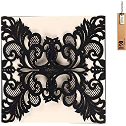 YUFENG Laser Cut Wedding Invitations Cards Kits Kit for Marriage Engagement Birthday Bridal Shower (black)