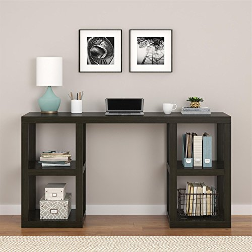 Deluxe Desk, Substantial, yet Elegant, Added Bonus of Extra Storage, Two Storage Cubbies on Each Side, Large Smooth Desk, Dark Espresso Finish and Modern Concept + Expert ()