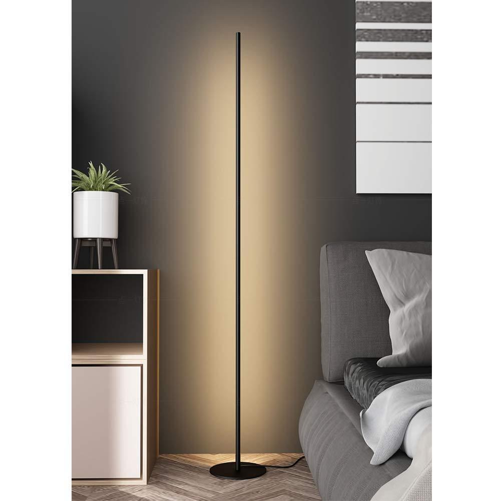 Feng tata LED de Metal Erguido L/ínea l/ámpara de pie Negro Protecci/ón de los Ojos la luz del Piso de Lectura Habitaci/ón Sala Personalidad Ambiente Luz