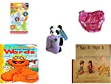 Children's Gift Bundle - Ages 0-2 [5 Piece] Includes: Nuby 3 Step Soothing Teether Set, BPA Free, Circo Infant Girls Swim Diaper Bikini Bottom Pink Butterfly 18 Months 22-25 lbs, Kellytoy Panda Bear