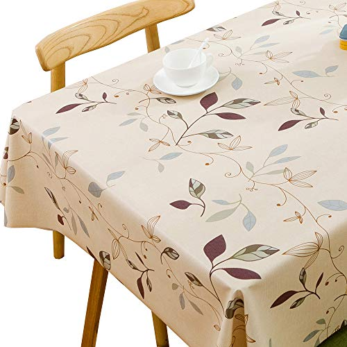 """JZY Heavy Duty Vinyl Tablecloth for Kitchen Dining Table Wipeable PVC Table Cloth for Rectangle Table (54"""" x 72"""", Leaves)"""